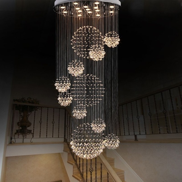 Modern Large Crystal Chandelier Light Fixture Foyer Long Spiral In Famous Long Chandelier Light (View 4 of 10)