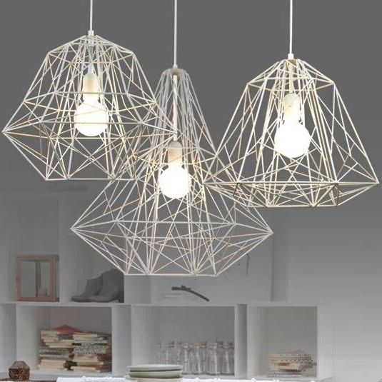 Modern Light Chandelier In Most Popular Modern Minimalist Black White Silver Gold Wrought Iron Cage Pendant (View 5 of 10)
