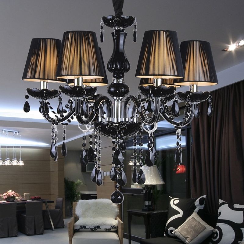 Modern Luxury Black Crystal Chandelier Lighting Fixture Pendant Within Widely Used Antique Black Chandelier (View 3 of 10)