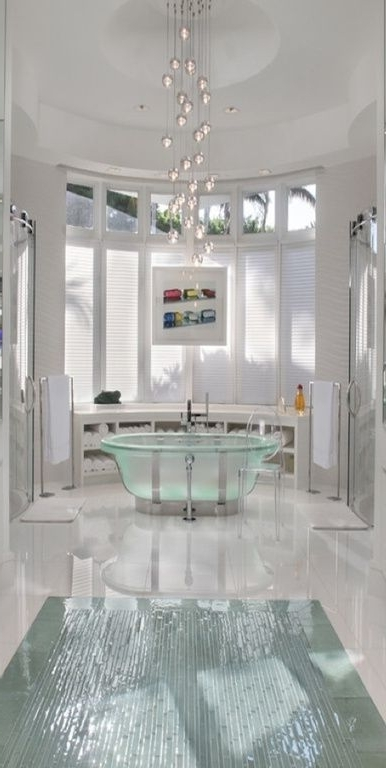 Modern Master Bathroom With Master Bathroom, Freestanding, Bathtub Inside Widely Used Modern Bathroom Chandeliers (View 7 of 10)