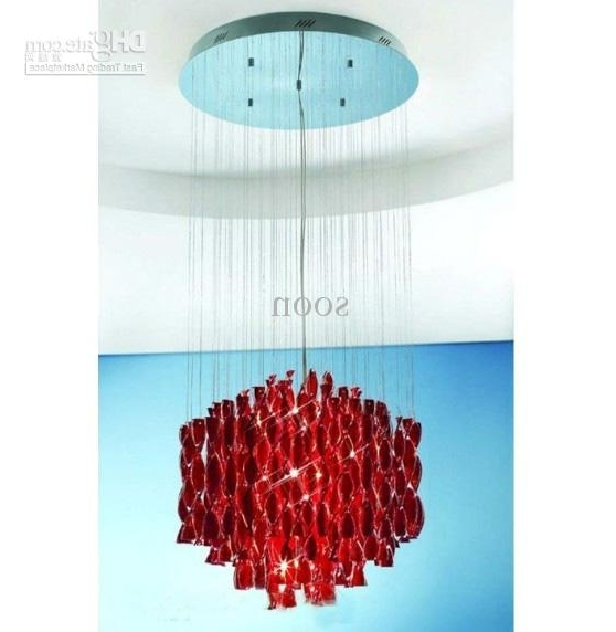 Modern Red Chandelier Pertaining To Best And Newest Modern Stylish Minimalist Red Glass Chandelier Living Room Bedroom (View 4 of 10)