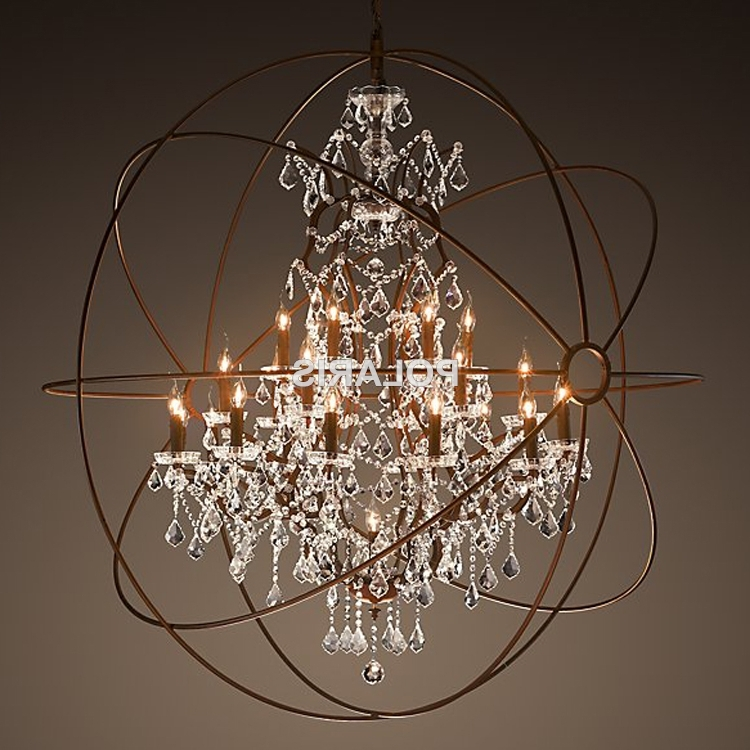 Modern Vintage Orb Crystal Chandelier Lighting Rustic Candle In Preferred Orb Chandelier (View 5 of 10)