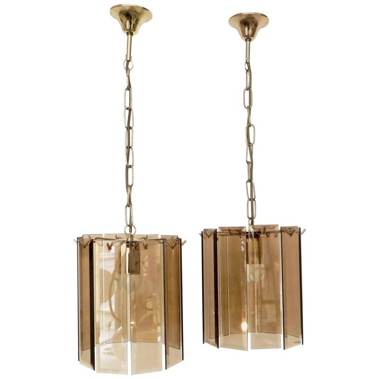 Most Current Brass And Glass Chandelier Within Pair Of Amber Beveled Italian Glass Chandeliers With Brass Details (View 8 of 10)