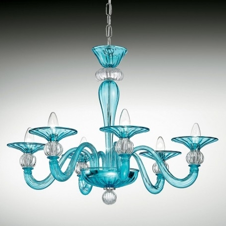"Most Current Ermione"" Murano Glass Chandelier – Murano Glass Chandeliers For Turquoise Blue Glass Chandeliers (View 2 of 10)"