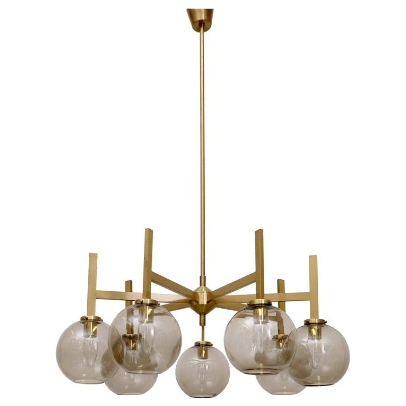 Most Current Large Brass Chandelier Intended For Large Brass Chandelierholger Johansson, 1960s For Sale At Pamono (View 2 of 10)
