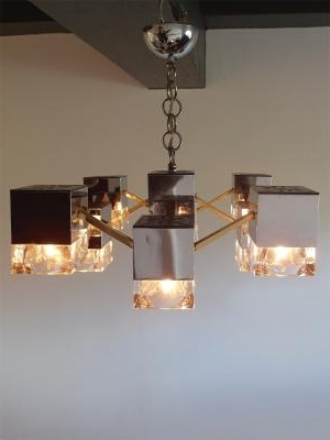 Most Current Mirrored Chandelier With Glass Cubes And Brassgaetano Sciolari Within Mirrored Chandelier (View 5 of 10)