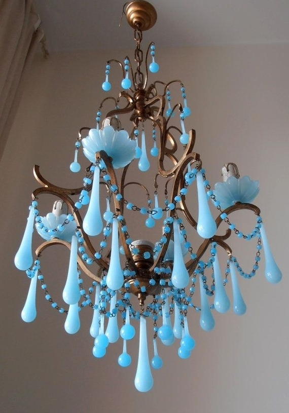 Most Current Rare Vintage Italian Brass Gilded Aqua Blue Opaline Birdcage Crystal Throughout Turquoise Color Chandeliers (View 5 of 10)