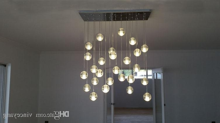 Most Current Stairwell Chandeliers Inside Phube Lighing Led Meteor Shower Crystal Chandelier Light Fixtures (View 3 of 10)