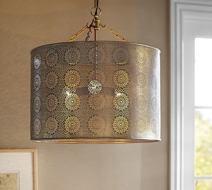 Most Current Taza Brass Punched Drum Pendant Pottery Barn Metal Drum Pendant For Metal Drum Chandeliers (View 7 of 10)