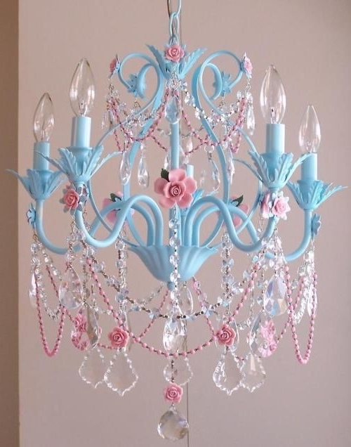 Most Current Turquoise And Pink Chandeliers Throughout Blue & Pink Chandelier, If I Ever Get My Scq Office The Way I Want (View 7 of 10)