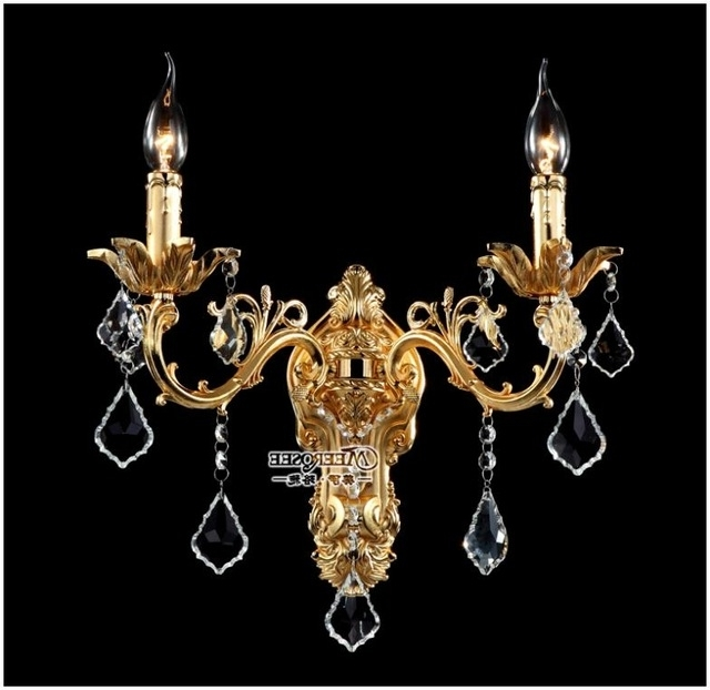 Most Current Wholesale Golden Crystal Wall Light Fixture Silver Wall Sconces Lamp With Regard To Wall Mounted Chandeliers (View 4 of 10)