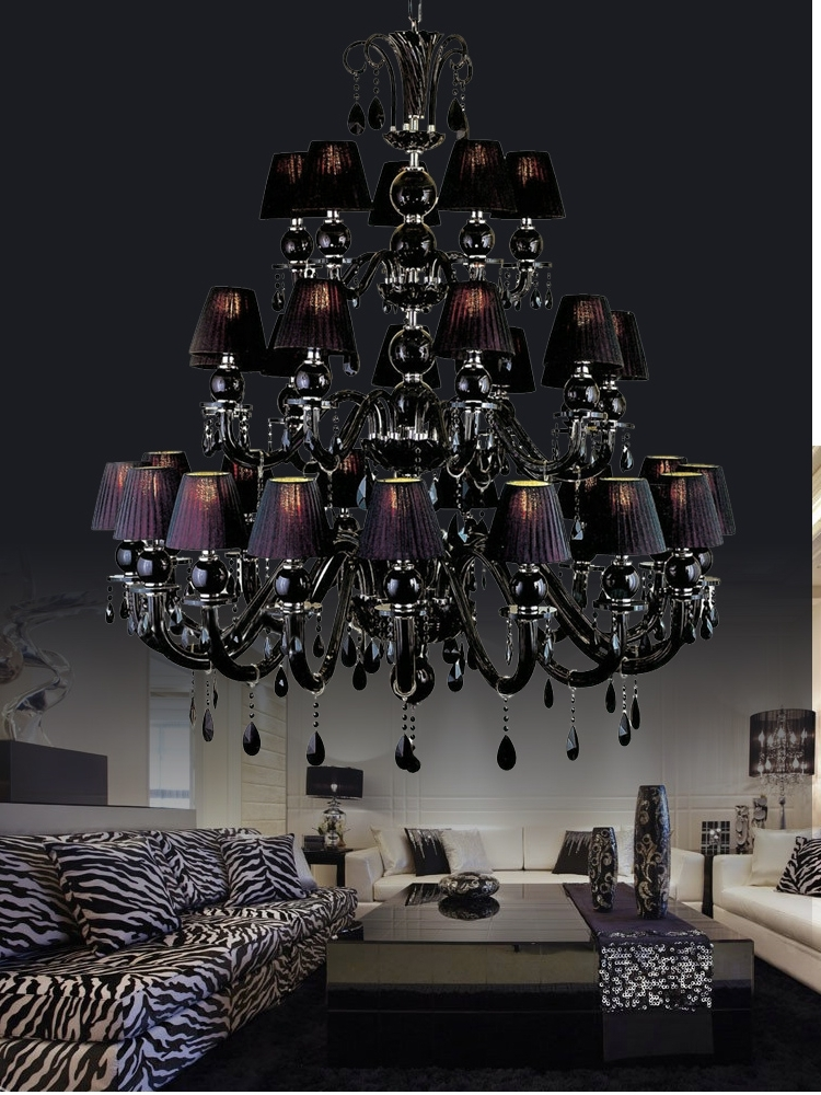 Most Popular 30 Lights Large Black Chandelier Lamp With Shades For Dining Room In Large Black Chandelier (View 4 of 10)