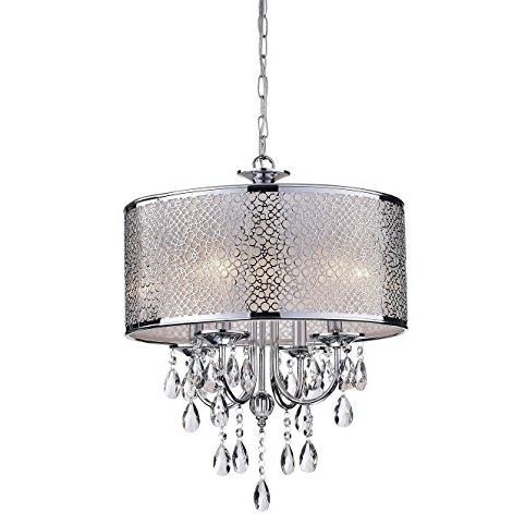 Most Popular 4 Light Chrome Crystal Chandeliers For Indoor 4 Light Chrome/ Crystal/ White Shades Chandelier – – Amazon (View 6 of 10)