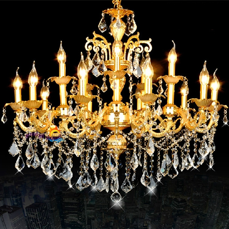 Most Popular Antique Led Candle Lamps Gold Crystal Chandeliers Hanging Light Throughout Crystal Gold Chandelier (Gallery 6 of 10)