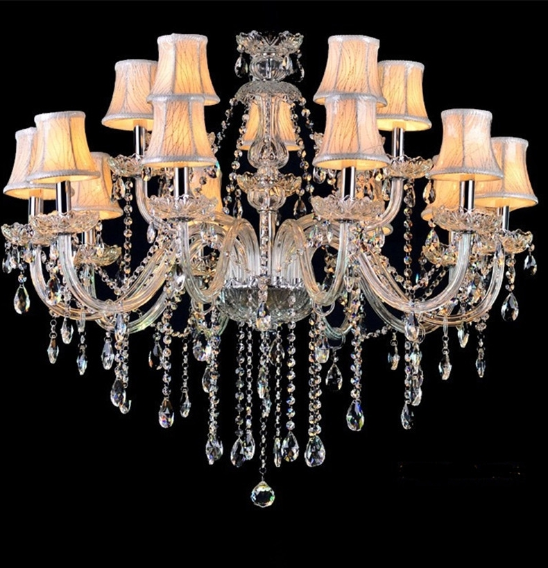 Most Popular Crystal Chandeliers With Shades Regarding Led Lamps Crystal Chandelier Vintage Candle Chandeliers With Fabric (View 6 of 10)