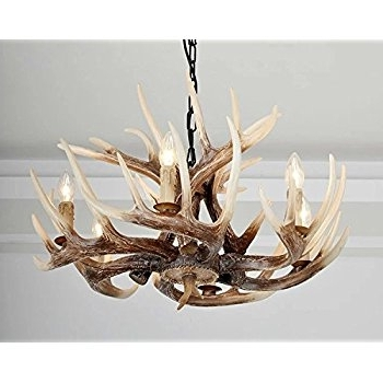 Most Popular Effortinc Vintage Style Resin Deer Horn Antler Chandeliers,6 Lights Inside Antler Chandeliers And Lighting (View 3 of 10)