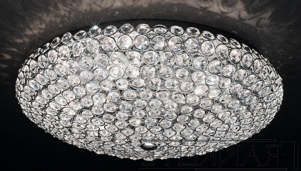 Most Popular Franklite Marquesa 6 Light Flush Crystal Ceiling Light (View 5 of 10)