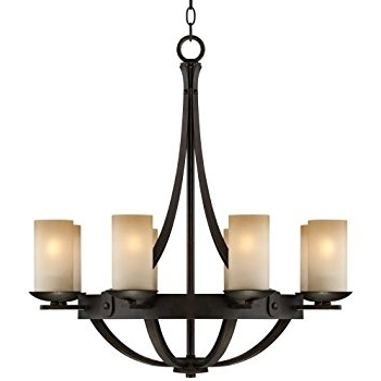 Most Popular Iron Chandelier With Regard To 6 Light Black Wrought Iron Chandelier With Glass Shades (C 8016  (View 8 of 10)