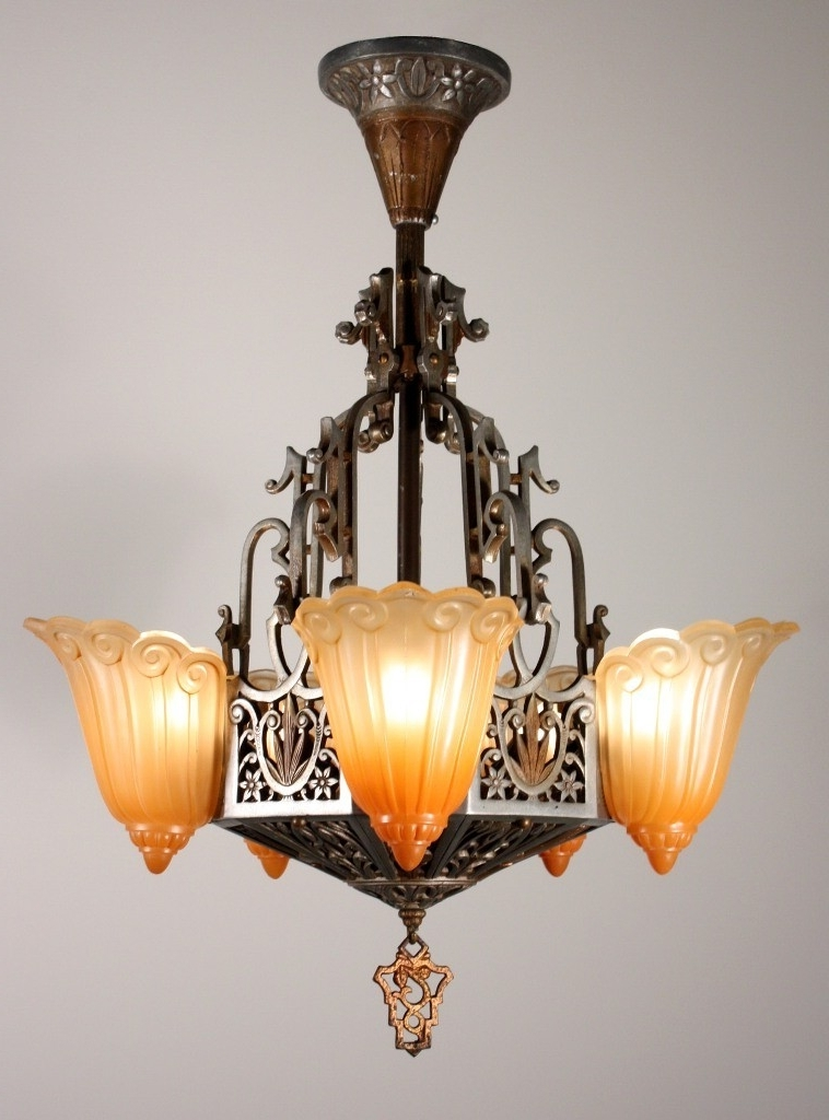 Most Popular Large Art Deco Chandelier With Regard To Vintage Five Light Art Deco Slip Shade Chandelierlincoln (View 6 of 10)