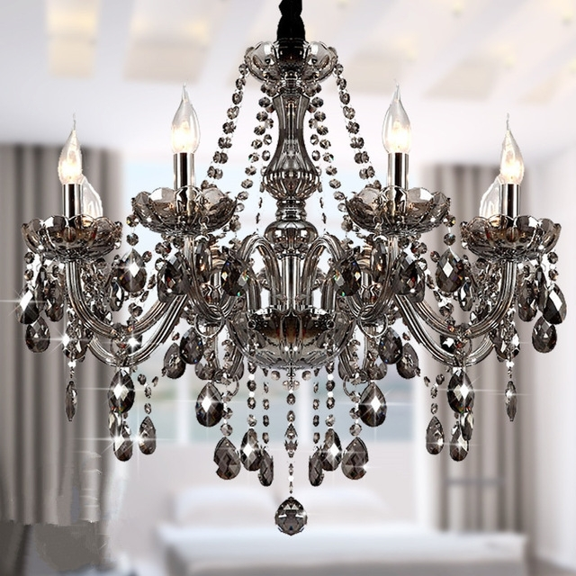 Most Popular Modern Crystal Chandeliers Lighting Lustre De Crystal Smokey Grey Intended For Grey Chandeliers (View 6 of 10)