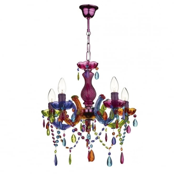 Most Popular Modern Multi Coloured Ceiling Chandelier – Great For Girls Bedroom (View 6 of 10)