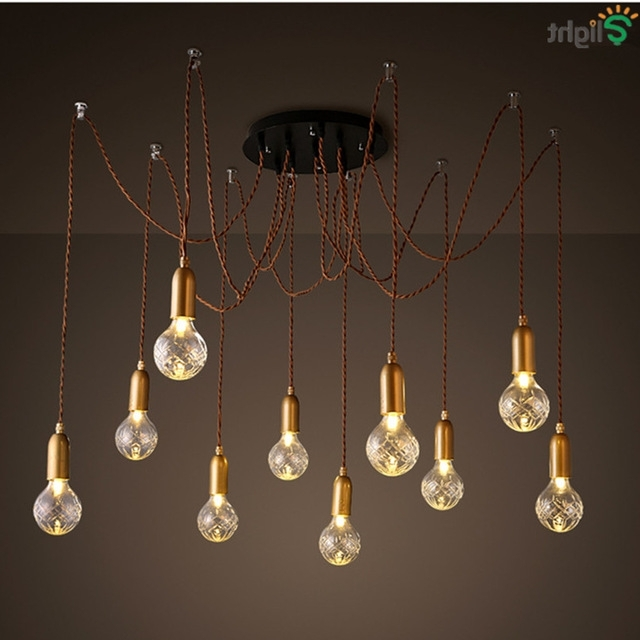 Most Popular Modern Simple Glass Diy Led Chandeliers Lustre Copper Loft Bar Led With Simple Glass Chandelier (View 2 of 10)
