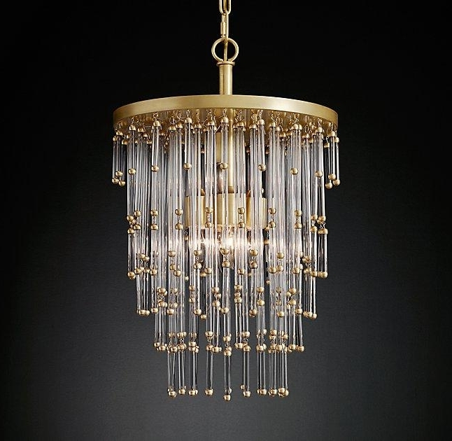 Most Popular Tipped Glass Waterfall Chandelier Pertaining To Brass And Glass Chandelier (View 9 of 10)