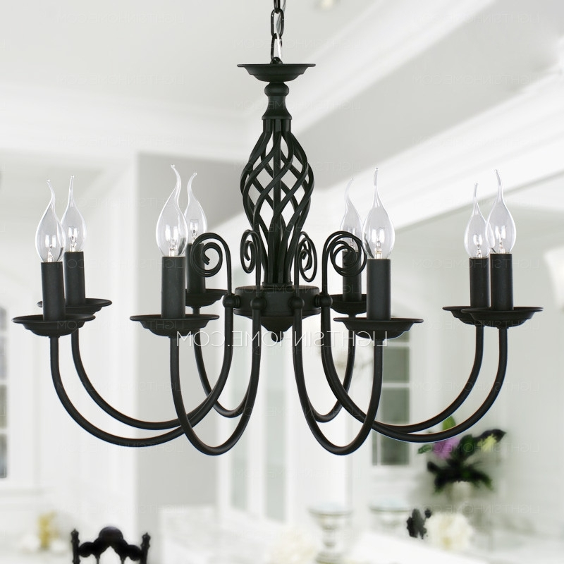Most Popular Wrought Iron Chandeliers Intended For Black Fixture 8 Light Wrought Iron Material Chandeliers  (View 4 of 10)