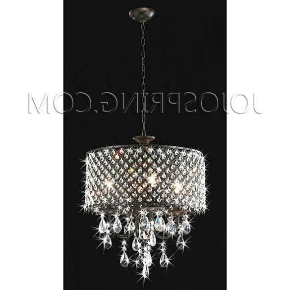 Most Recent 4 Light Crystal Chandeliers Inside Antique Black 4 Light Round Crystal Chandelier – Bpe 55Bk ( Crystal (View 7 of 10)
