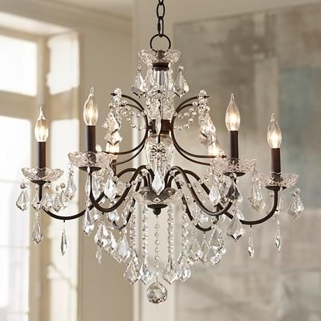 "Most Recent Beverly 26"" Wide Bronze Frame Clear Crystal Chandelier (View 4 of 10)"