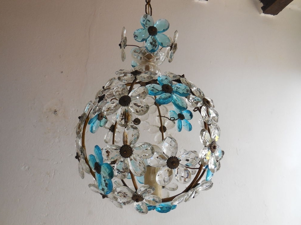 Most Recent C 1920 French Maison Bagues Aqua Clear Crystal Prisms Flowers Ball In Turquoise Ball Chandeliers (View 4 of 10)