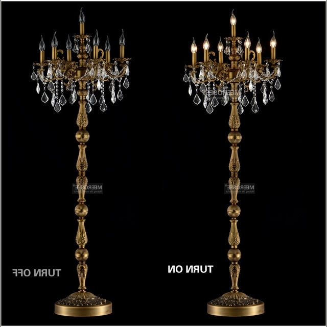 Most Recent Classic 7 Lights Crystal Floor Lamp, Floor Stand Light Fixture Intended For Free Standing Chandelier Lamps (View 7 of 10)