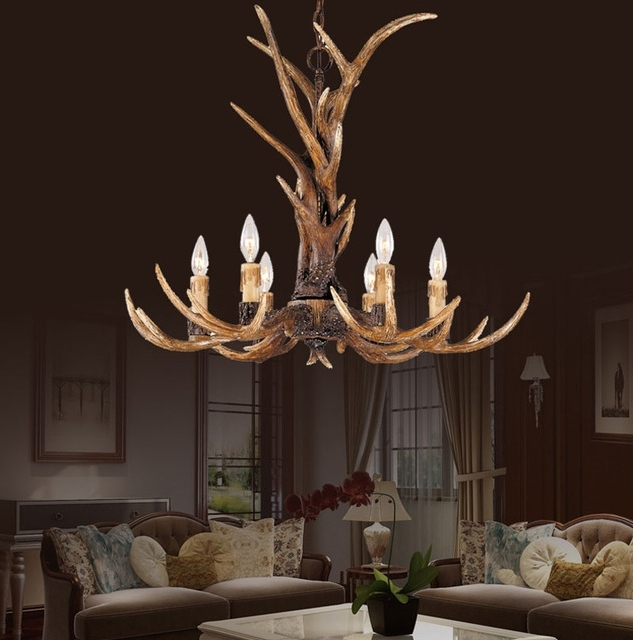 Most Recent Europe Country 6 Head Candle Resin Antler Chandelier Lighting With Antler Chandeliers And Lighting (View 10 of 10)