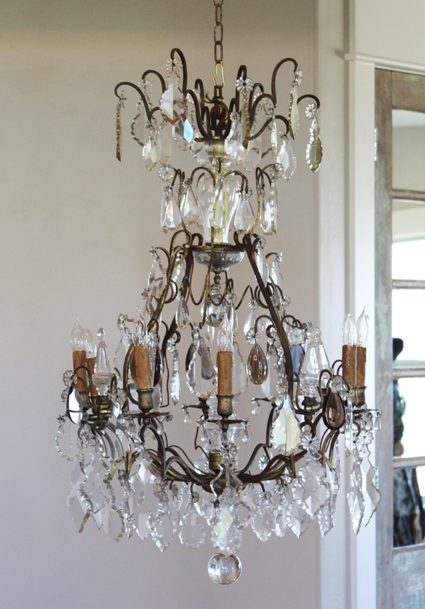 Most Recent French Antique Chandeliers Within Early 1800S French Antique Bronze Crystal Electric Chandelier (View 7 of 10)