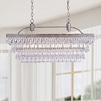 Most Recent Glass Droplet Chandelier Intended For Antique Silver 6 Light Rectangular Glass Droplets Chandelier (View 7 of 10)
