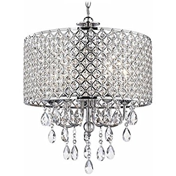 Most Recently Released Chandelier Chrome Throughout Crystal Chrome Chandelier Pendant Light With Crystal Beaded Drum (View 5 of 10)