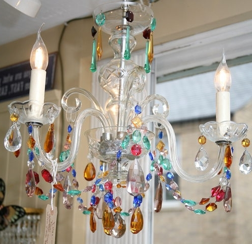 Most Recently Released Coloured Glass Chandelier Throughout Antiques Atlas – 1930S 3 Arm Coloured Glass Chandelier (View 10 of 10)