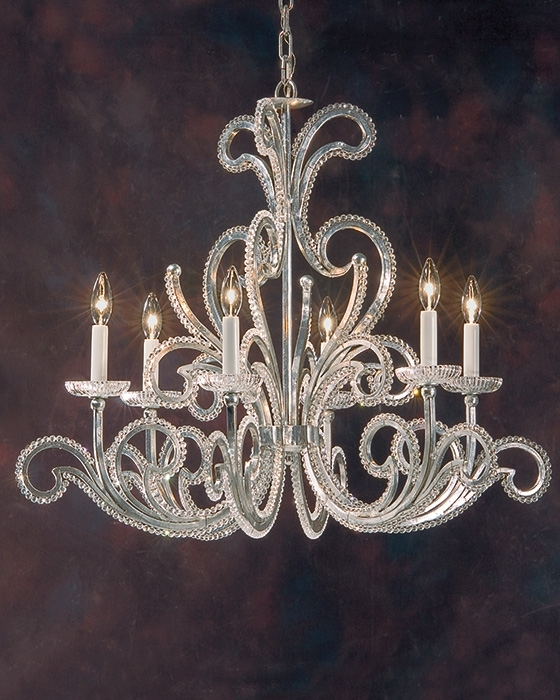Most Recently Released Wrought Iron Chandelier In Silver Leaf In Italian Chandeliers Style (View 9 of 10)