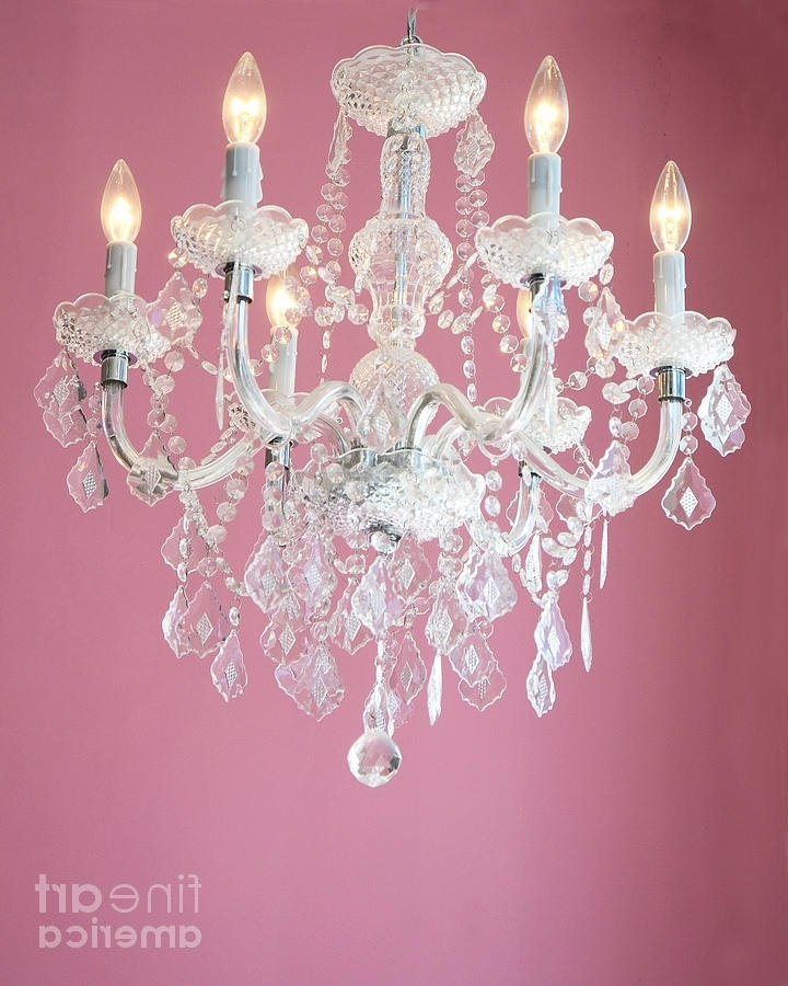 Most Up To Date Dreamy Shabby Chic Pink White Chandelier – Paris Baby Girl Nursery Inside Crystal Chandeliers For Baby Girl Room (View 9 of 10)