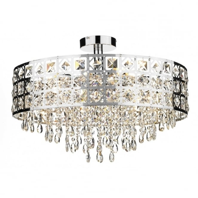 Most Up To Date Large Modern Laser Cut Semi Flush Fitting Circular Crystal Chandelier In Chandelier For Low Ceiling (View 8 of 10)