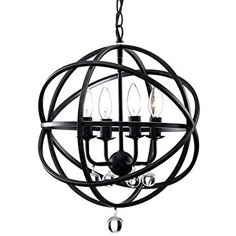 Most Up To Date Metal Sphere Chandelier Within Benita Antique Black Metal Sphere 4 Light Crystal Chandelier (View 8 of 10)