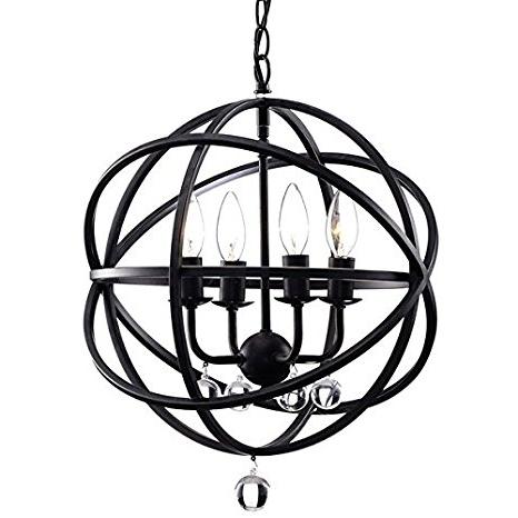 Most Up To Date Metal Sphere Chandelier Within Benita Antique Black Metal Sphere 4 Light Crystal Chandelier (View 2 of 10)