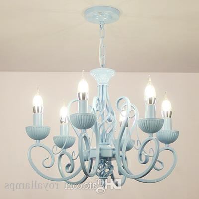 Multiple Chandelier Modern White/pink/blue Candle Iron Children's Throughout Well Liked Modern White Chandelier (View 9 of 10)