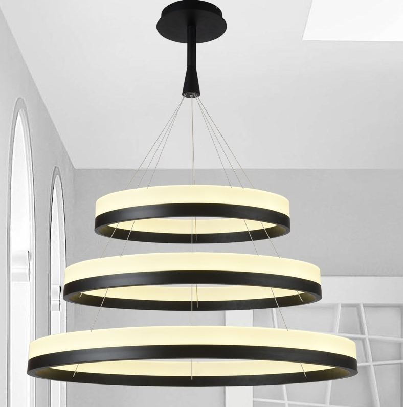 New Led Acrylic Chandelier Fixture Black Remote Control Pendant Lamp With Well Known Acrylic Chandelier Lighting (View 4 of 10)