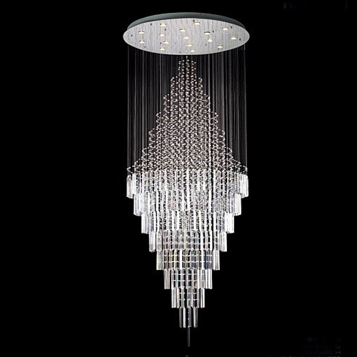 "New ! Modern Contemporary Chandelier ""rain Drop"" Chandeliers H 100 With Widely Used Modern Light Chandelier (Gallery 1 of 10)"