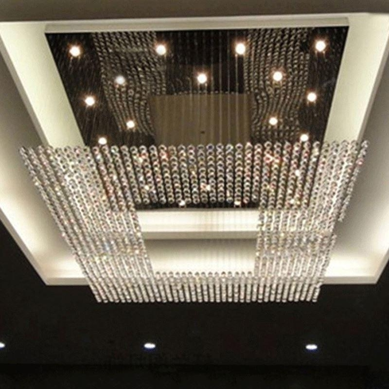 New Square Modern String Big Crystal Chandeliers Hotel Lobby With Regard To 2017 Big Chandeliers (View 8 of 10)
