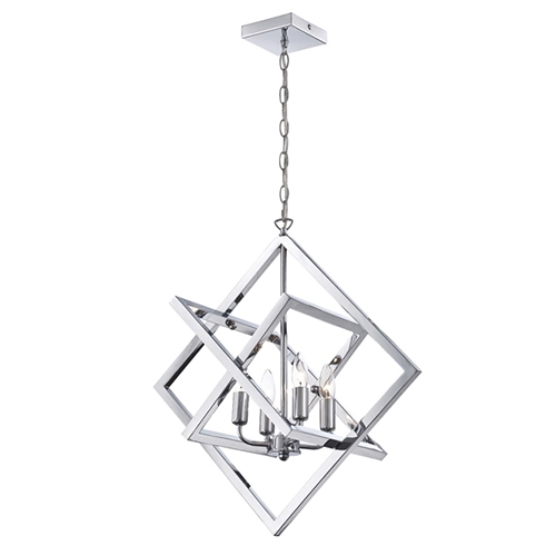 Newest Chandelier Chrome For Lite Source Isidro Chrome Four Light Chandelier In Geometric Design (View 2 of 10)