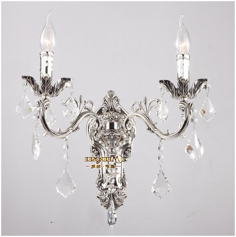 Newest Chandelier Wall Lights Intended For Wholesale Golden Crystal Wall Light Fixture Silver Wall Sconces Lamp (View 8 of 10)