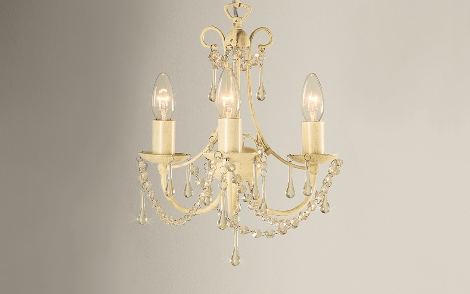 Newest Cream Chandelier Lights With Regard To Chella Cream 3 Light Chandelier (View 8 of 10)