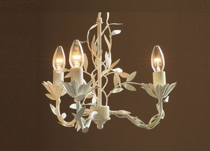 Newest Cream Chandeliers Intended For Aneela Cream 3 Light Chandelier (View 8 of 10)